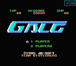 Title screen of the game Zunou Senkan Galg on Nintendo NES