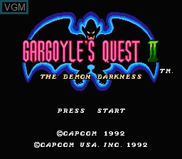 Title screen of the game Gargoyle's Quest II - The Demon Darkness on Nintendo NES