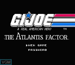 Title screen of the game G.I. Joe - The Atlantis Factor on Nintendo NES