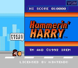 Title screen of the game Hammerin' Harry on Nintendo NES