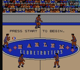Title screen of the game Harlem Globetrotters on Nintendo NES
