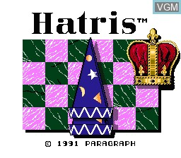 Title screen of the game Hatris on Nintendo NES