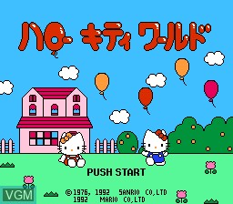 Title screen of the game Hello Kitty World on Nintendo NES