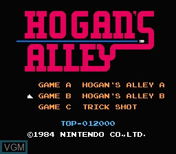 Title screen of the game Hogan's Alley on Nintendo NES