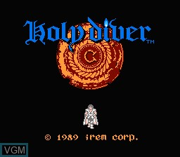 Title screen of the game Holy Diver on Nintendo NES