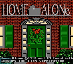 Title screen of the game Home Alone on Nintendo NES