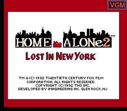 Title screen of the game Home Alone 2 - Lost in New York on Nintendo NES