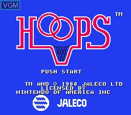 Title screen of the game Hoops on Nintendo NES