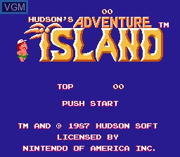 Title screen of the game Adventure Island on Nintendo NES