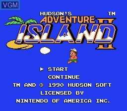 Title screen of the game Adventure Island II on Nintendo NES