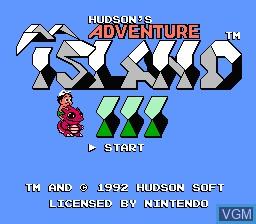Title screen of the game Adventure Island III on Nintendo NES