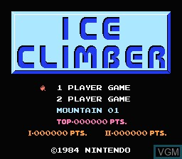 Title screen of the game Ice Climber on Nintendo NES
