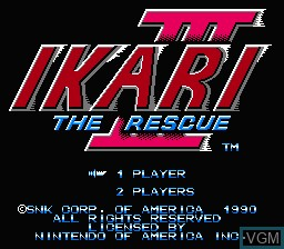 Title screen of the game Ikari III - The Rescue on Nintendo NES