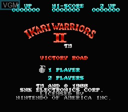 Title screen of the game Ikari Warriors II - Victory Road on Nintendo NES