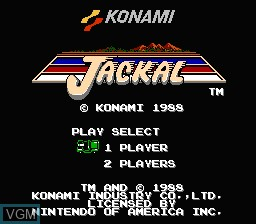 Title screen of the game Jackal on Nintendo NES