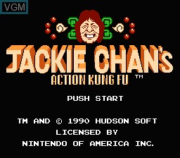 Title screen of the game Jackie Chan's Action Kung Fu on Nintendo NES