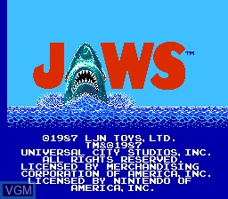 Title screen of the game Jaws on Nintendo NES