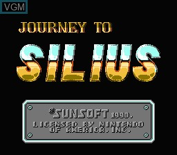 Title screen of the game Journey to Silius on Nintendo NES