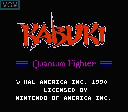 Title screen of the game Kabuki - Quantum Fighter on Nintendo NES