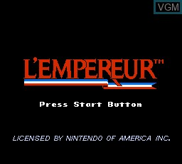 Title screen of the game L'Empereur on Nintendo NES