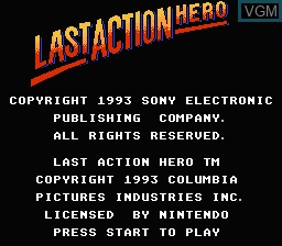 Title screen of the game Last Action Hero on Nintendo NES