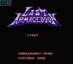 Title screen of the game Last Armageddon on Nintendo NES
