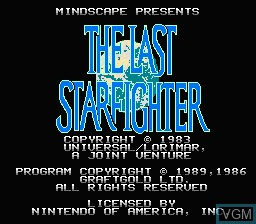 Title screen of the game Last Starfighter, The on Nintendo NES