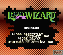 Title screen of the game Legacy of the Wizard on Nintendo NES