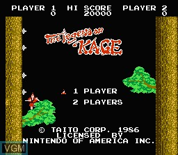 Title screen of the game Legend of Kage, The on Nintendo NES
