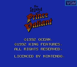 Title screen of the game Legend of Prince Valiant, The on Nintendo NES