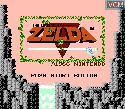 Title screen of the game Legend of Zelda, The on Nintendo NES