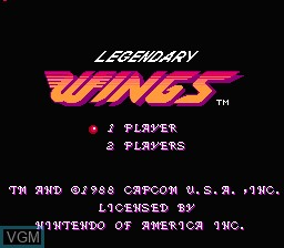 Title screen of the game Legendary Wings on Nintendo NES
