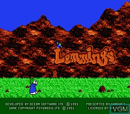 Title screen of the game Lemmings on Nintendo NES