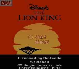 Title screen of the game Lion King, The on Nintendo NES