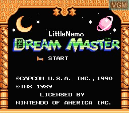Title screen of the game Little Nemo - The Dream Master on Nintendo NES