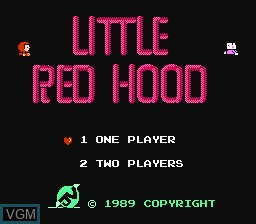 Title screen of the game Little Red Hood on Nintendo NES