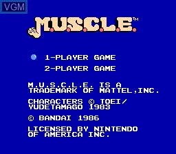 Title screen of the game M.U.S.C.L.E. on Nintendo NES