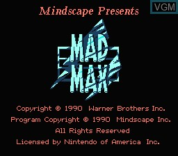 Title screen of the game Mad Max on Nintendo NES