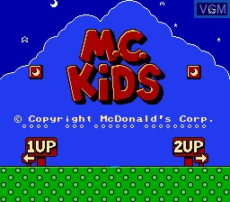 Title screen of the game M.C Kids on Nintendo NES