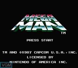 Title screen of the game Megaman on Nintendo NES