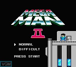 Title screen of the game Megaman II on Nintendo NES