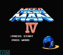 Title screen of the game Megaman IV on Nintendo NES
