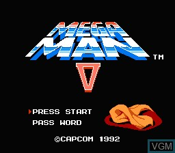Title screen of the game Megaman V on Nintendo NES