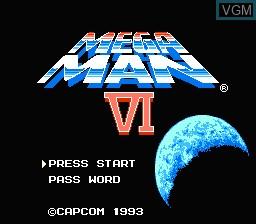 Title screen of the game Megaman VI on Nintendo NES