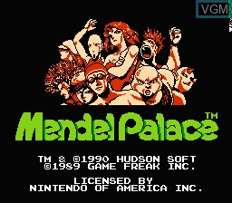 Title screen of the game Mendel Palace on Nintendo NES