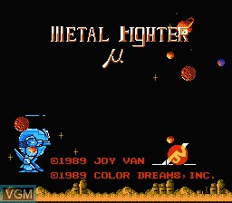 Title screen of the game Metal Fighter on Nintendo NES