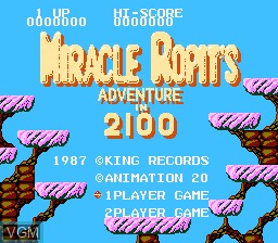 Title screen of the game Miracle Ropit's Adventure in 2100 on Nintendo NES