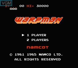 Title screen of the game Warpman on Nintendo NES