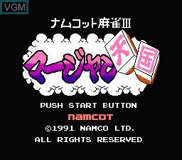 Title screen of the game Namcot Mahjong 3 - Mahjong Tengoku on Nintendo NES