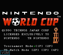 Title screen of the game Nintendo World Cup on Nintendo NES